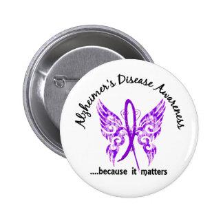 Grunge Tattoo Butterfly 6.1 Alzheimer's Disease 2 Inch Round Button