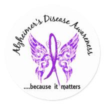 Grunge Tattoo Butterfly 6.1 Alzheimer's Disease Classic Round Sticker