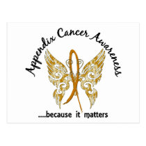 Grunge Tattoo Butterfly 6.1 Appendix Cancer Postcard