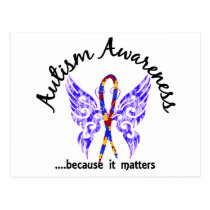 Grunge Tattoo Butterfly 6.1 Autism Postcard