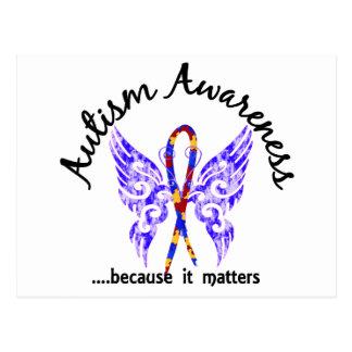 Grunge Tattoo Butterfly 6.1 Autism Postcard
