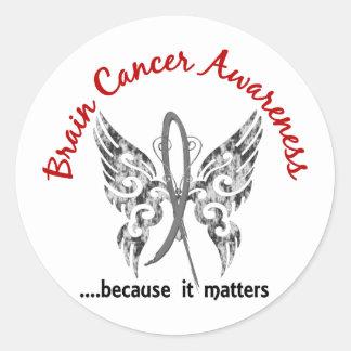 Grunge Tattoo Butterfly 6.1 Brain Cancer Classic Round Sticker