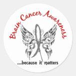 Grunge Tattoo Butterfly 6.1 Brain Cancer Round Stickers