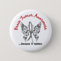 Grunge Tattoo Butterfly 6.1 Brain Tumor Pinback Button