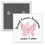 Grunge Tattoo Butterfly 6.1 Breast Cancer Button