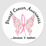 Grunge Tattoo Butterfly 6.1 Breast Cancer Classic Round Sticker