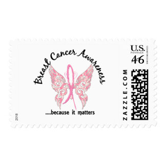 Grunge Tattoo Butterfly 6.1 Breast Cancer Postage