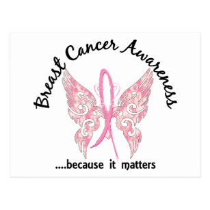 Breast Cancer Ribbon Butterfly Postcards No Minimum Quantity