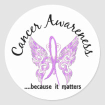 Grunge Tattoo Butterfly 6.1 Cancer Classic Round Sticker