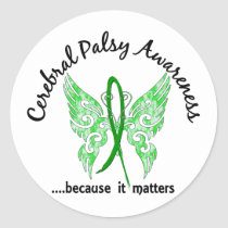 Grunge Tattoo Butterfly 6.1 Cerebral Palsy Classic Round Sticker