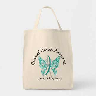 Grunge Tattoo Butterfly 6.1 Cervical Cancer Grocery Tote Bag