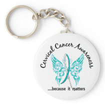 Grunge Tattoo Butterfly 6.1 Cervical Cancer Keychain