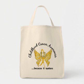 Grunge Tattoo Butterfly 6.1 Childhood Cancer Grocery Tote Bag