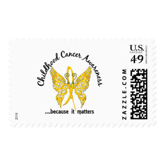 Grunge Tattoo Butterfly 6.1 Childhood Cancer Postage
