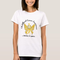 Grunge Tattoo Butterfly 6.1 Childhood Cancer T-Shirt