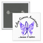 Grunge Tattoo Butterfly 6.1 Colon Cancer 2 Inch Square Button