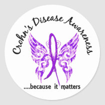 Grunge Tattoo Butterfly 6.1 Crohn's Disease Classic Round Sticker