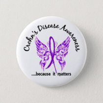 Grunge Tattoo Butterfly 6.1 Crohn's Disease Pinback Button