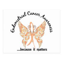 Grunge Tattoo Butterfly 6.1 Endometrial Cancer Postcard