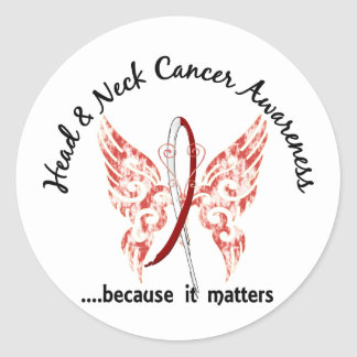 Grunge Tattoo Butterfly 6.1 Head And Neck Cancer Classic Round Sticker