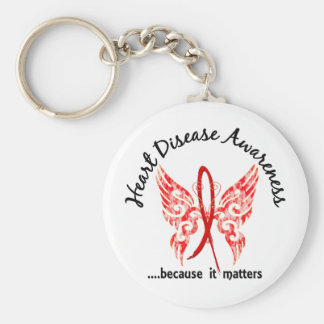 Grunge Tattoo Butterfly 6.1 Heart Disease Basic Round Button Keychain