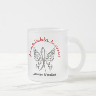 Grunge Tattoo Butterfly 6.1 Juvenile Diabetes Frosted Glass Coffee Mug