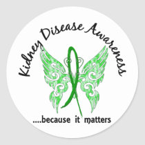 Grunge Tattoo Butterfly 6.1 Kidney Disease Classic Round Sticker