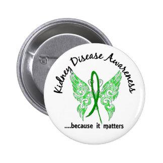 Grunge Tattoo Butterfly 6.1 Kidney Disease Pinback Button