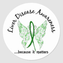 Grunge Tattoo Butterfly 6.1 Liver Disease Classic Round Sticker