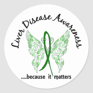 Grunge Tattoo Butterfly 6.1 Liver Disease Classic Round Sticker