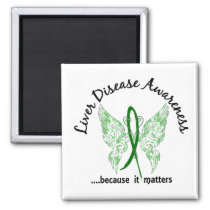 Grunge Tattoo Butterfly 6.1 Liver Disease Magnet