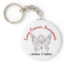 Grunge Tattoo Butterfly 6.1 Lung Cancer Keychain
