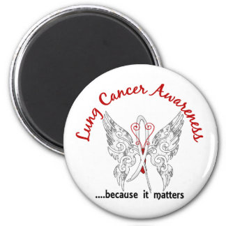 Grunge Tattoo Butterfly 6.1 Lung Cancer Magnet