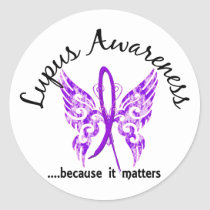 Grunge Tattoo Butterfly 6.1 Lupus Classic Round Sticker