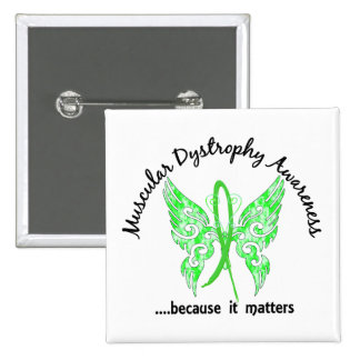 Grunge Tattoo Butterfly 6.1 Muscular Dystrophy 2 Inch Square Button