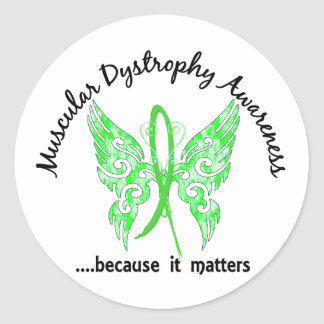 Grunge Tattoo Butterfly 6.1 Muscular Dystrophy Classic Round Sticker