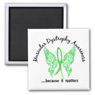 Grunge Tattoo Butterfly 6.1 Muscular Dystrophy 2 Inch Square Magnet