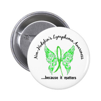 Grunge Tattoo Butterfly 6.1 Non-Hodgkin's Lymphoma 2 Inch Round Button