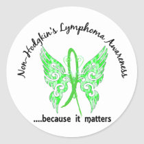 Grunge Tattoo Butterfly 6.1 Non-Hodgkin's Lymphoma Classic Round Sticker