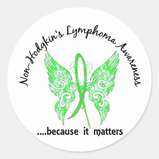 Grunge Tattoo Butterfly 6.1 Non-Hodgkin's Lymphoma Classic Round Sticker
