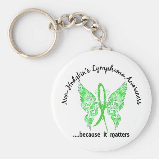 Grunge Tattoo Butterfly 6.1 Non-Hodgkin's Lymphoma Basic Round Button Keychain