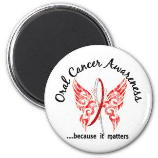 Grunge Tattoo Butterfly 6.1 Oral Cancer 2 Inch Round Magnet