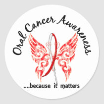 Grunge Tattoo Butterfly 6.1 Oral Cancer Classic Round Sticker