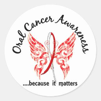 Grunge Tattoo Butterfly 6.1 Oral Cancer Classic Round Sticker