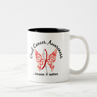 Grunge Tattoo Butterfly 6.1 Oral Cancer Two-Tone Coffee Mug