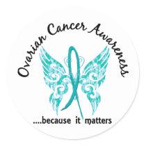 Grunge Tattoo Butterfly 6.1 Ovarian Cancer Classic Round Sticker