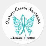 Grunge Tattoo Butterfly 6.1 Ovarian Cancer Round Stickers