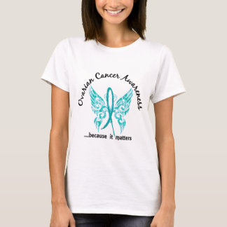 Grunge Tattoo Butterfly 6.1 Ovarian Cancer T-Shirt