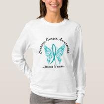 Grunge Tattoo Butterfly 6.1 Ovarian Cancer T-Shirt