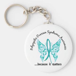 Grunge Tattoo Butterfly 6.1 PCOS Basic Round Button Keychain